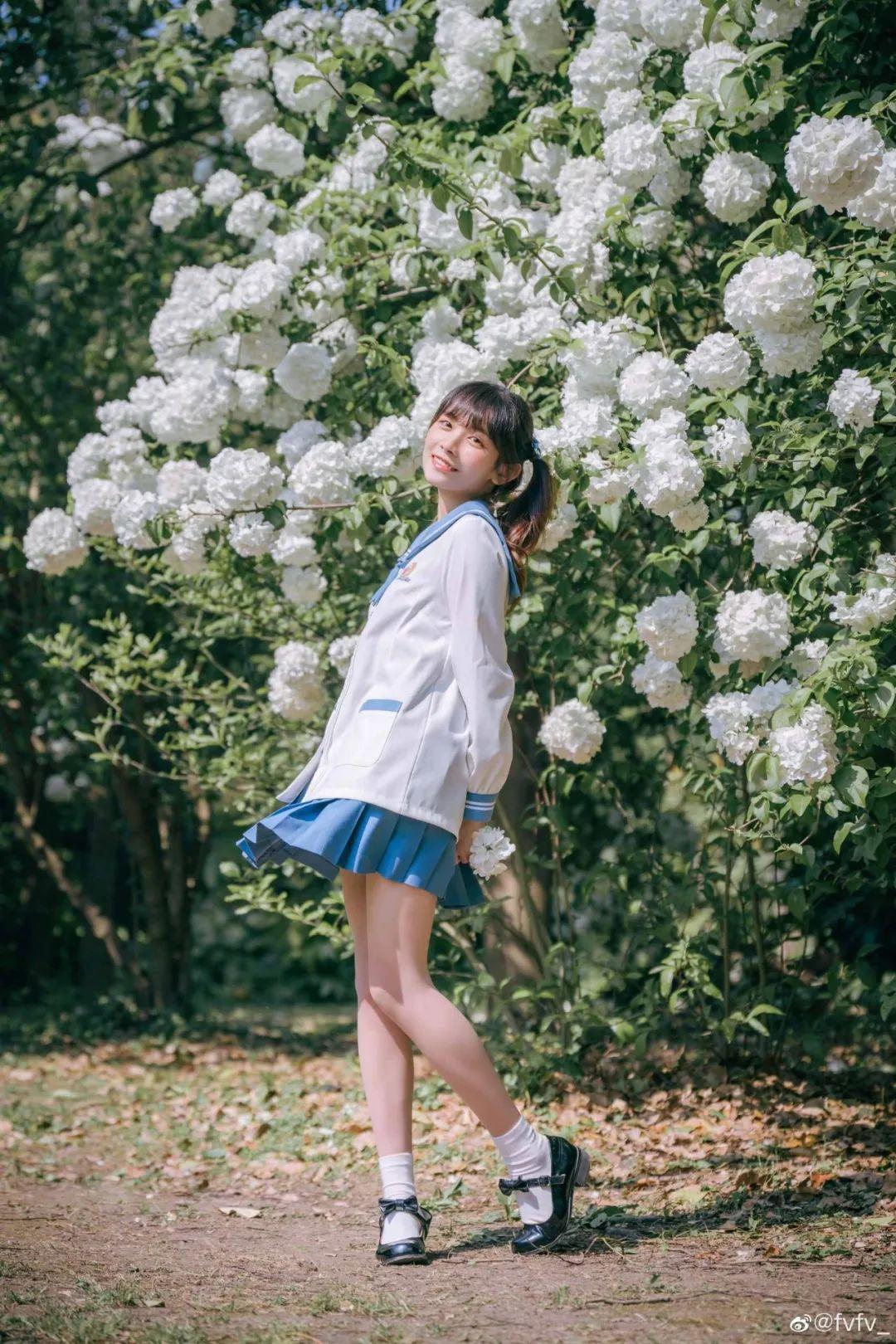 妹子摄影 – JK制服白丝小腿袜少女,初恋的香气_图片 No.11