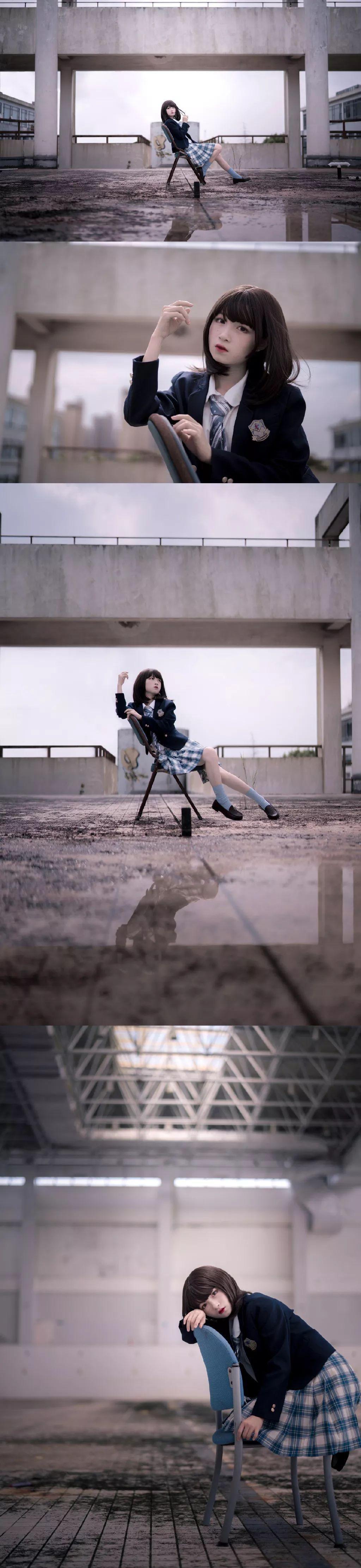 妹子摄影 – 短发jk制服少女 在破旧的教学室和一张椅子演绎颓废之美_图片 No.1