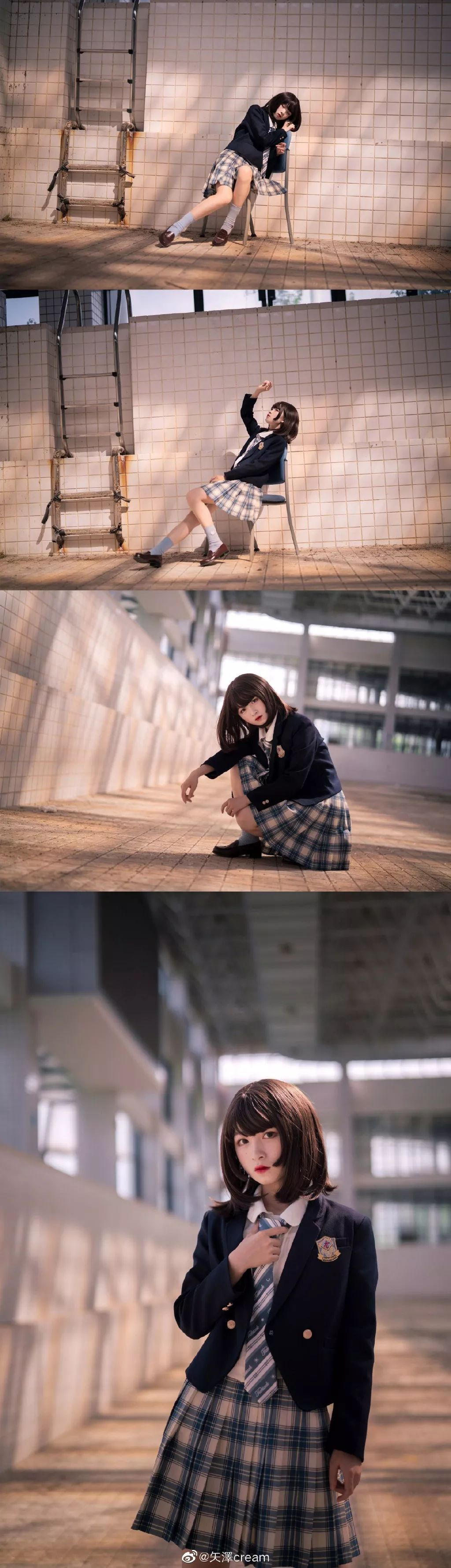 妹子摄影 – 短发jk制服少女 在破旧的教学室和一张椅子演绎颓废之美_图片 No.6