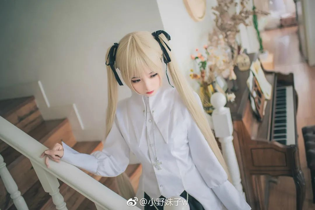 妹子摄影 – 白毛双马尾穹妹cosplay 黑丝过膝袜_图片 No.6