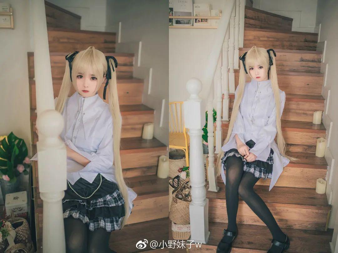 妹子摄影 – 白毛双马尾穹妹cosplay 黑丝过膝袜_图片 No.8