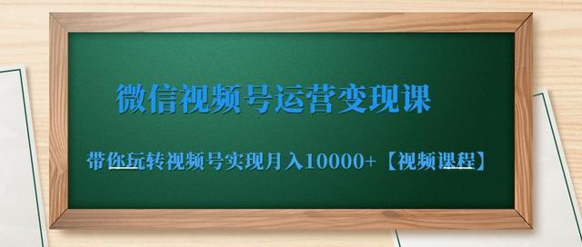 玩转微信视频号月入一万+,微信视频号运营变现课【视频教程】 配图