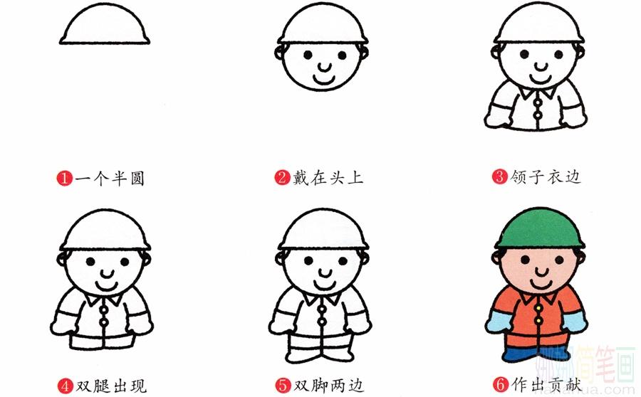 工人_戴安全帽的工人简笔画画法_图片 2