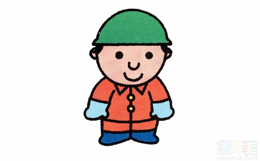 工人_戴安全帽的工人简笔画画法_图片 4