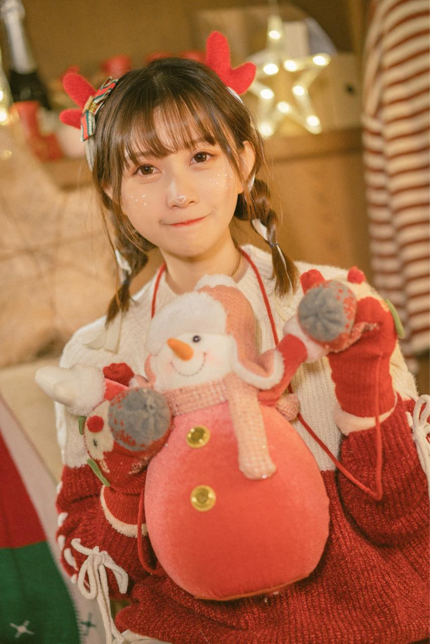 超绝可爱!bilibili美少女@醋醋cucu,来自圣诞节的驯鹿cosplay美图_图片 No.4