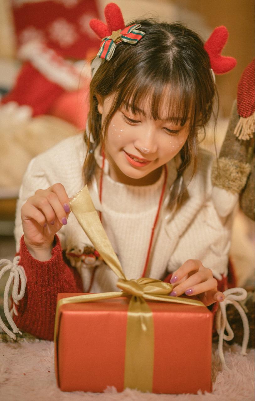 超绝可爱!bilibili美少女@醋醋cucu,来自圣诞节的驯鹿cosplay美图_图片 No.5