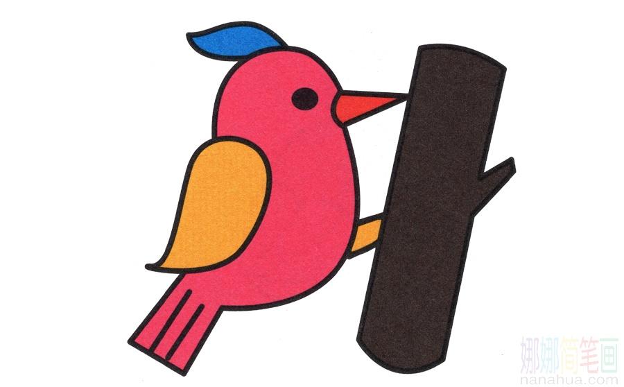 啄木鸟的简笔画画法_图片 4