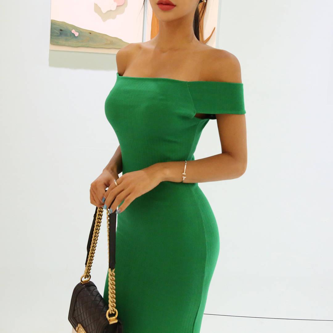 绿色裙子是不是比较显身材啊? 第6张