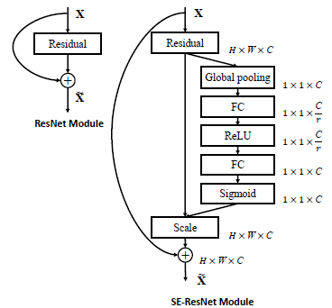 图4:原始$ResNet$块(左)和$Squeeze-And-Excitation ResNet$块(右)如$[3]$中所示。