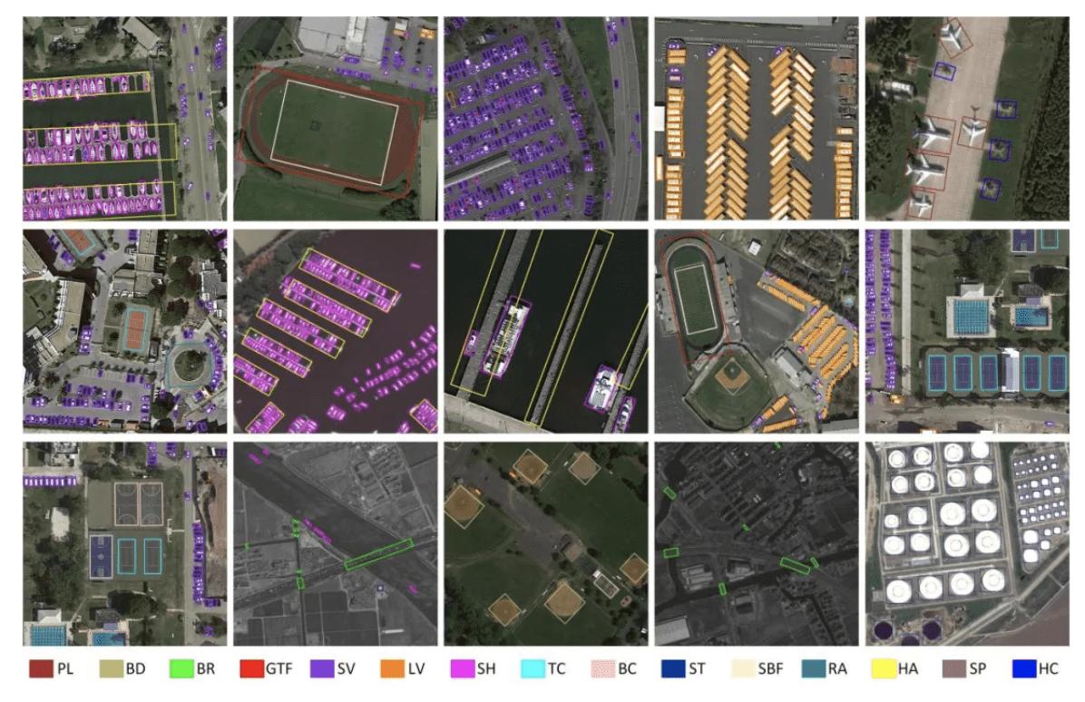 图 4. Oriented R-CNN 在DOTA数据集上的部分检测结果