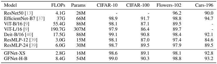 图5:GFNet 在不同下游任务上的迁移能力