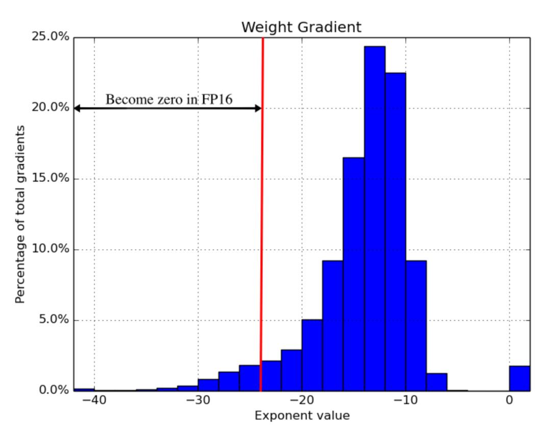 图17:全精度梯度直方图。一旦模型切换到FP16,左高达$2^{-24}$的部分将归零。(图像源:Narang\&Micikevicius等人,2018年\)