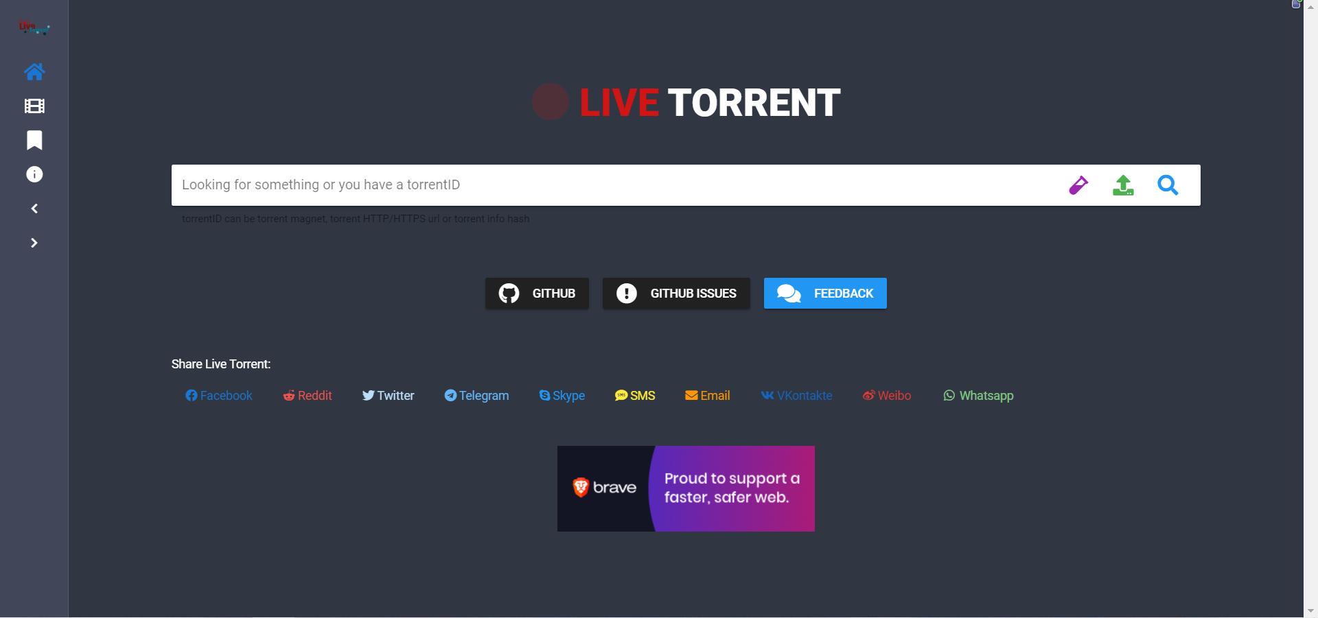 一个支持磁力链和种子在线搜索的云播Web客户端live-torrent