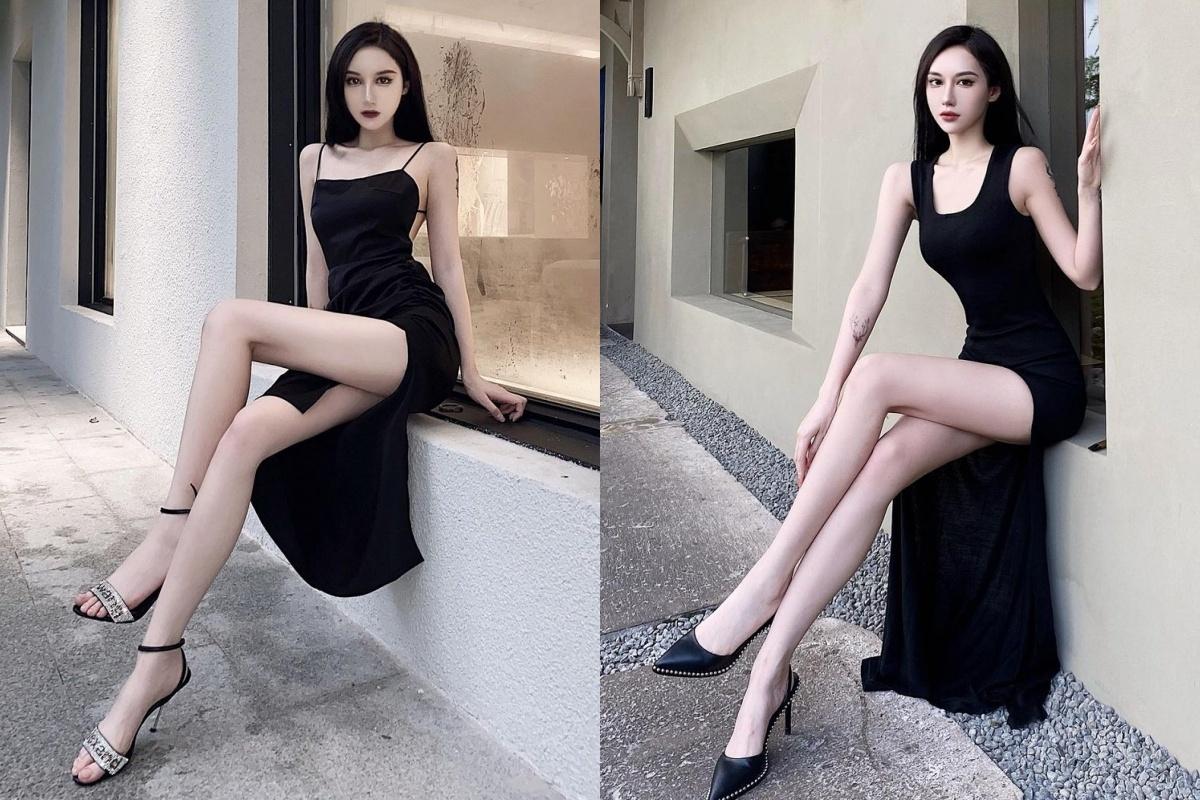行走的腿精.23岁潮妹WENN 穿搭超暗黑也不忘晒出美神腿 网络美女 第8张