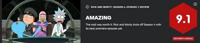 《瑞克和莫蒂》第4季来啦!IGN评分9.1,网友评论:这是最值得的等待!