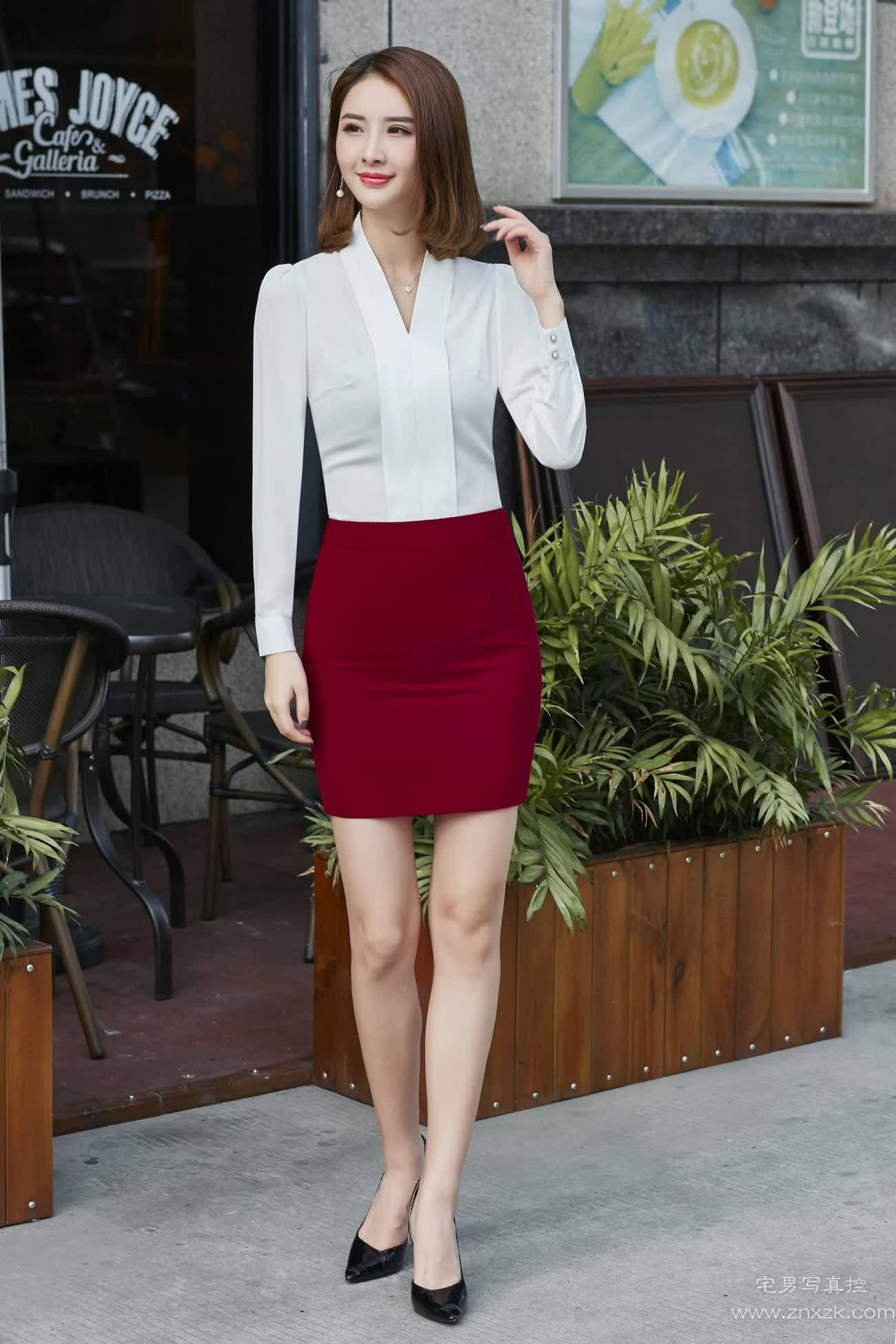 [原创摄影]淘宝时装模特写真白衬衣酒红色职业装