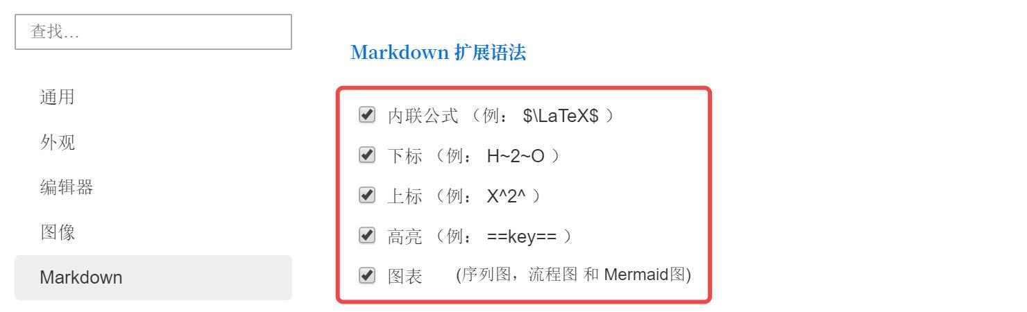 开启「Markdown ▸ 代码块、公式」下的所有选项