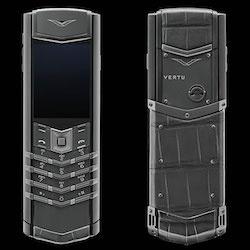 2017年新款总裁签名灰色鳄鱼皮威图手机【鳄鱼皮】【隐藏键盘】【灰色】
