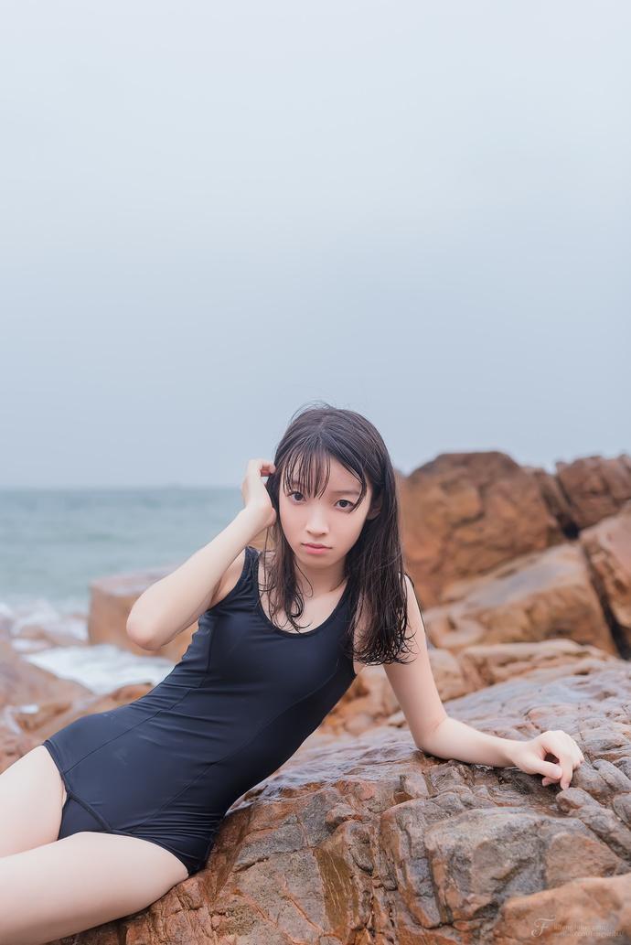 风之领域 054 黑色连体泳衣少女 中日妹子