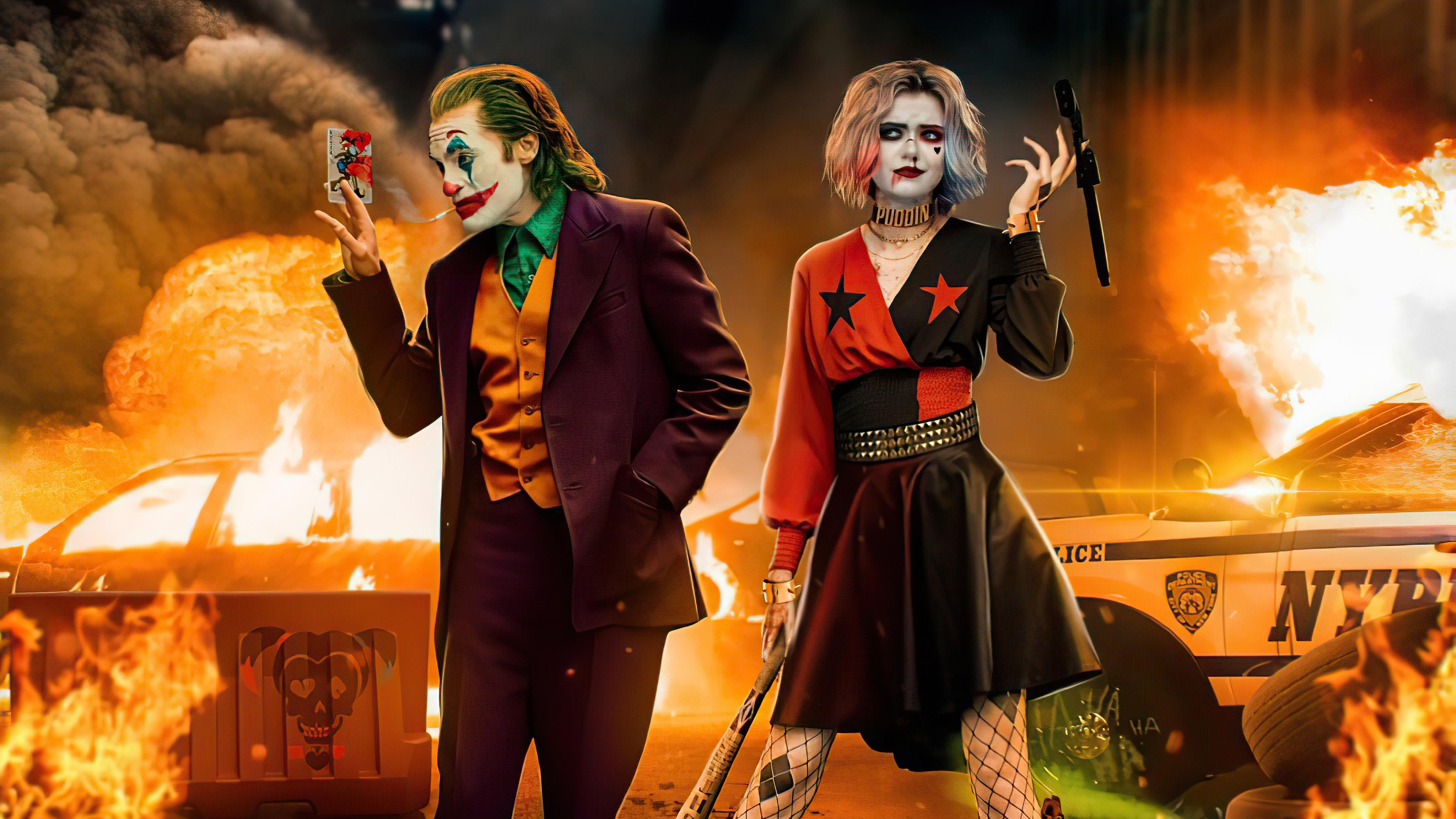 小丑和哈莉·奎茵壁纸