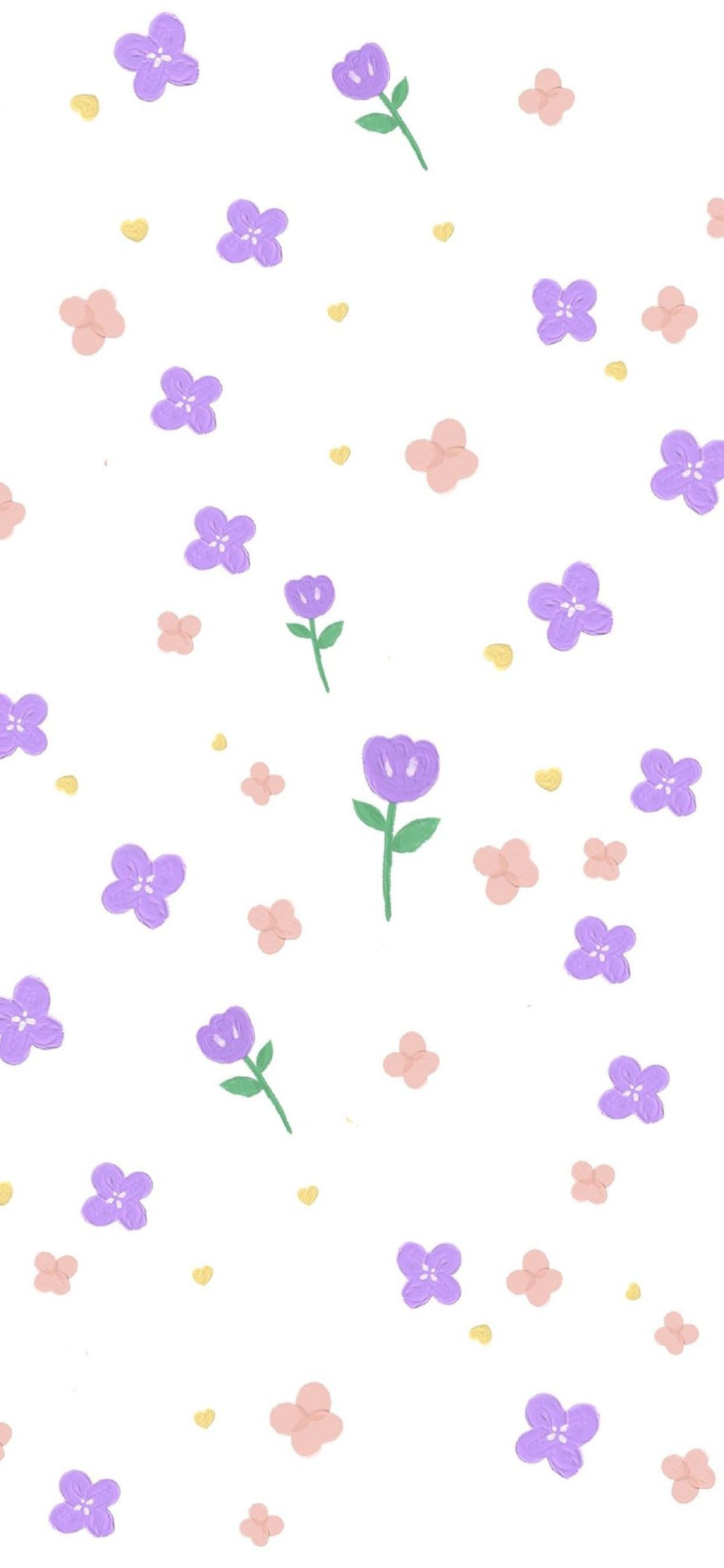 小清新花朵平铺手机壁纸