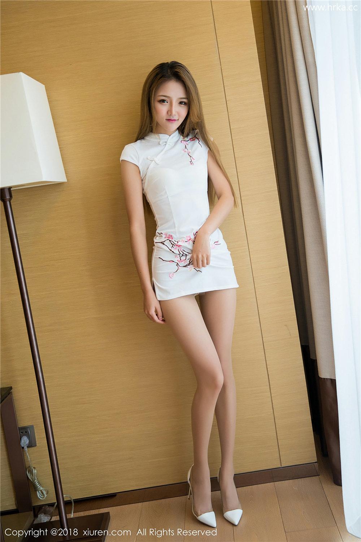 Miko酱首秀肉丝白色旗袍