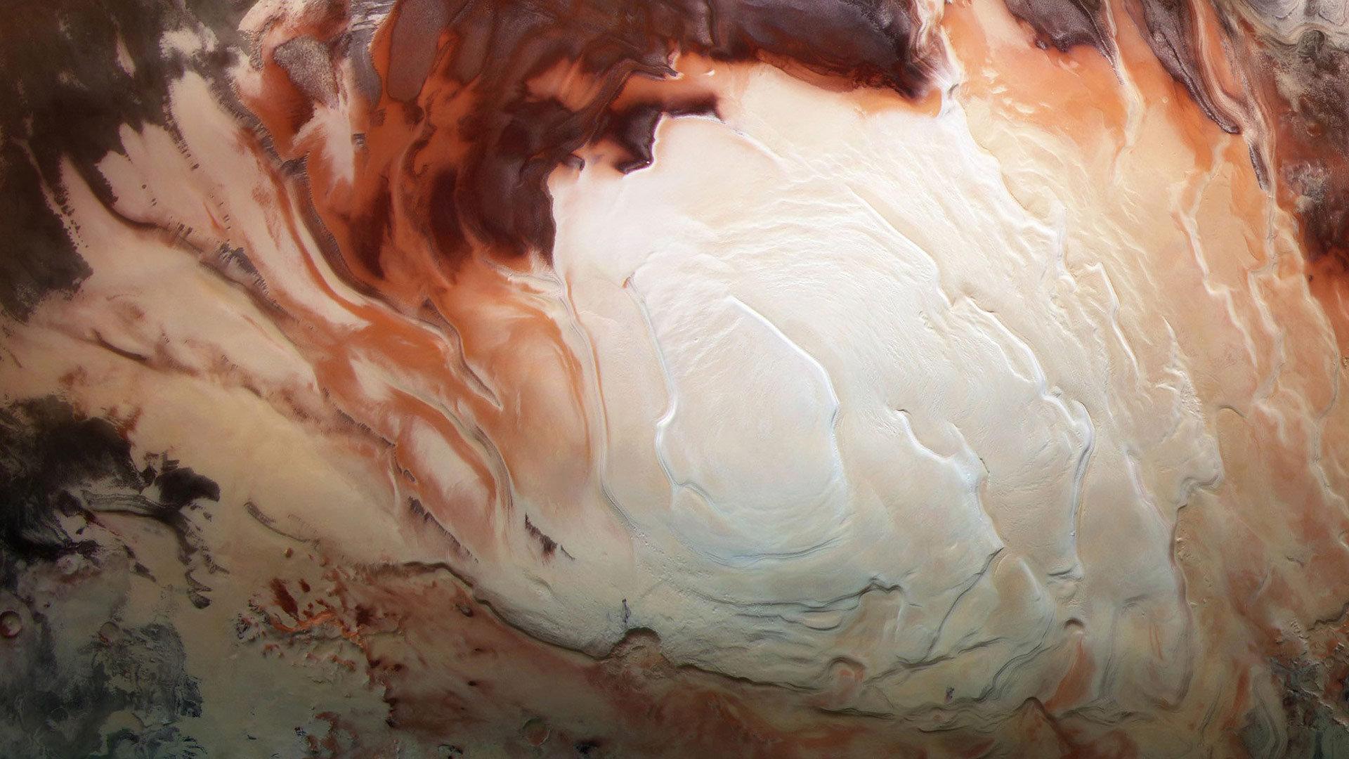 火星快车号传来的火星南极冰盖图像