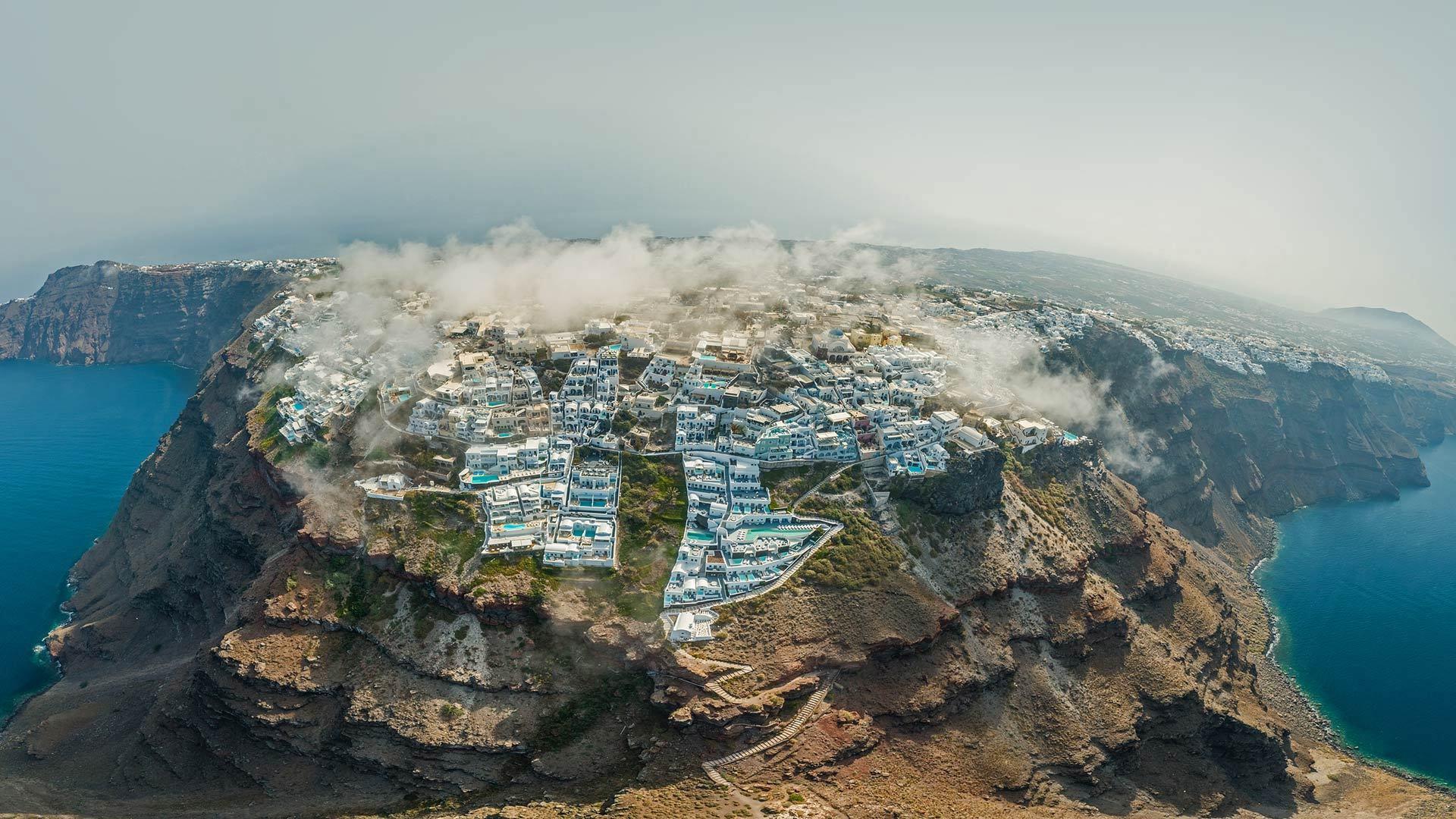 圣托里尼岛鸟瞰图圣托里尼岛鸟