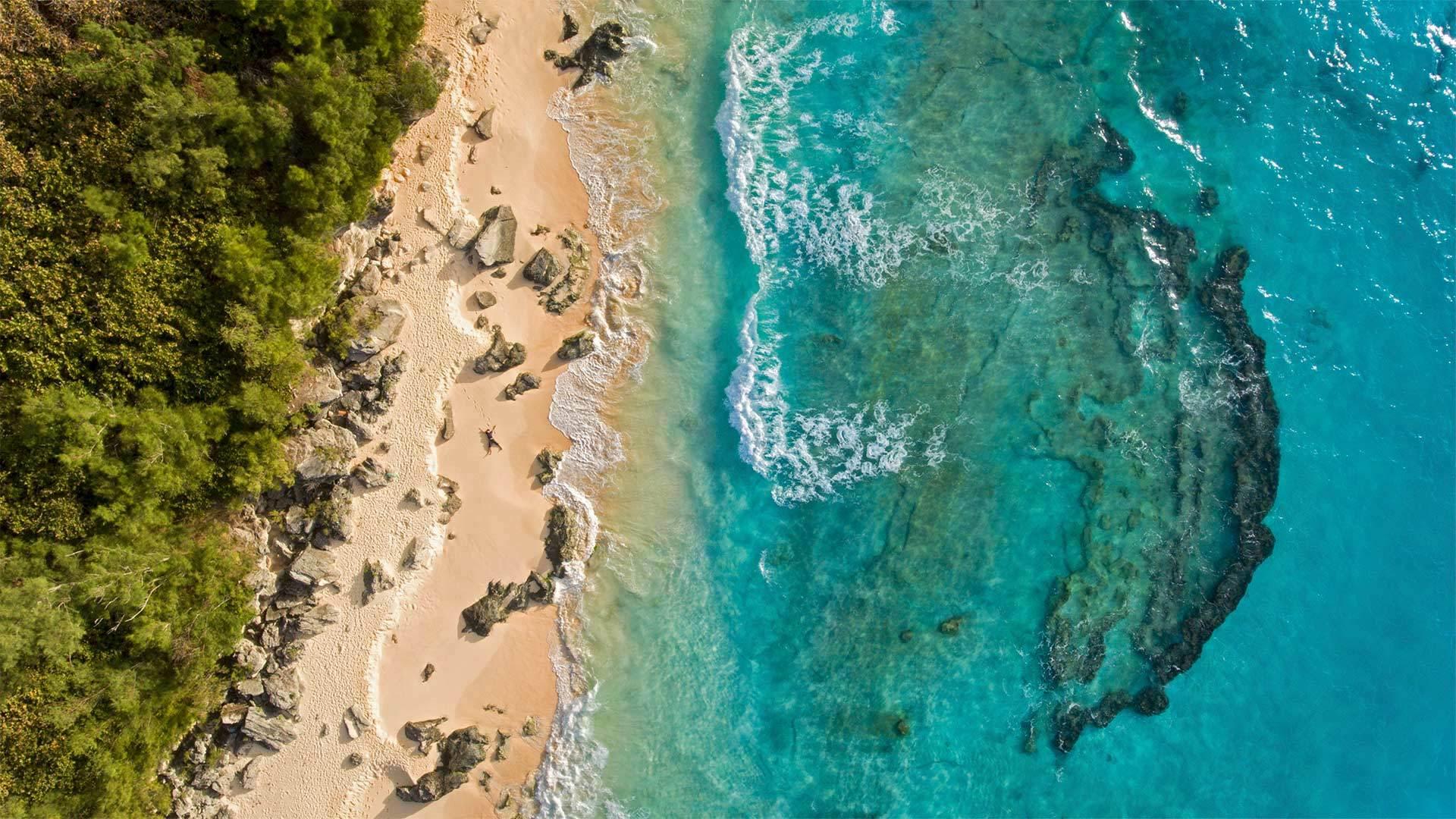 百慕大马利海滩鸟瞰图百慕大马利海滩