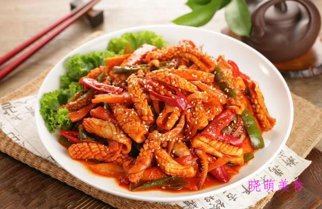 辣炒猪肝、辣炒牛肉、辣炒猪肚、辣炒鸡胗、辣炒鱿鱼的做法