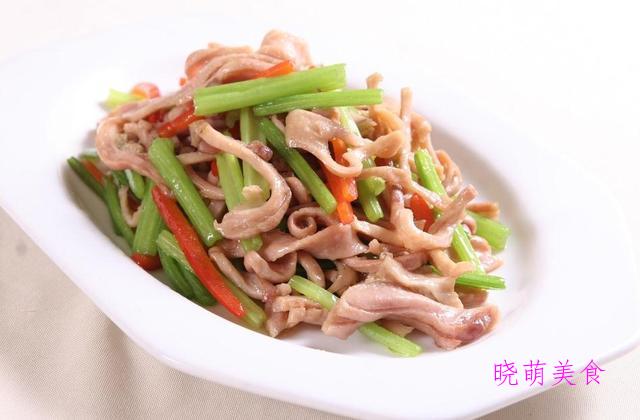香辣肚尖、肉末炒豆干、山药小炒、笋炒腊肠、 香芹炒猪耳的做法