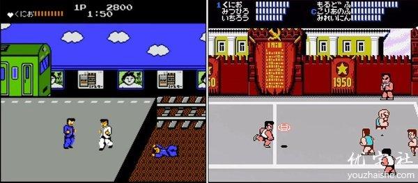 在热血物语发售前的两款热血系列游戏:热血硬派(图左)和热血高校躲避球(图右)