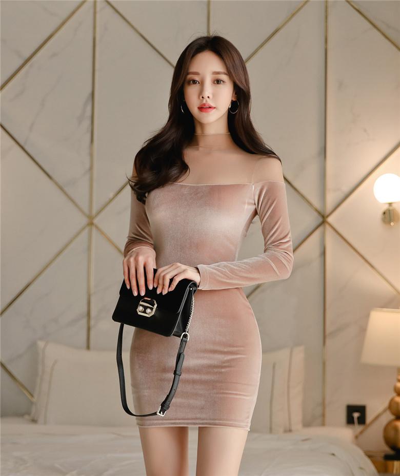 韩国名模孙允珠写真图包:金丝雀香槟泛光都市包臀礼裙(21P)