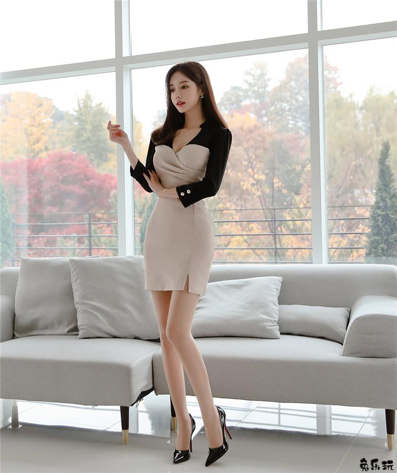 名模孙允珠:伦敦彩绘绅士经典混色包臀裙 (20P)