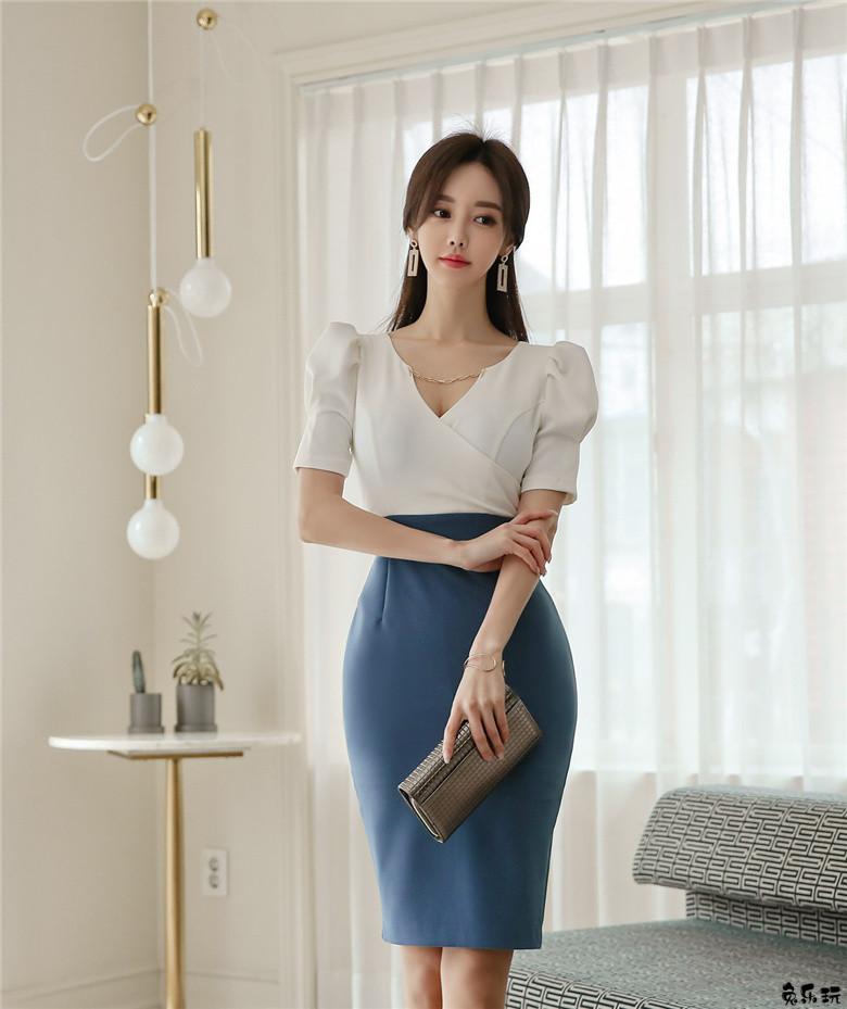 孙允珠:玻蓝水晶深海气质白领及膝裙