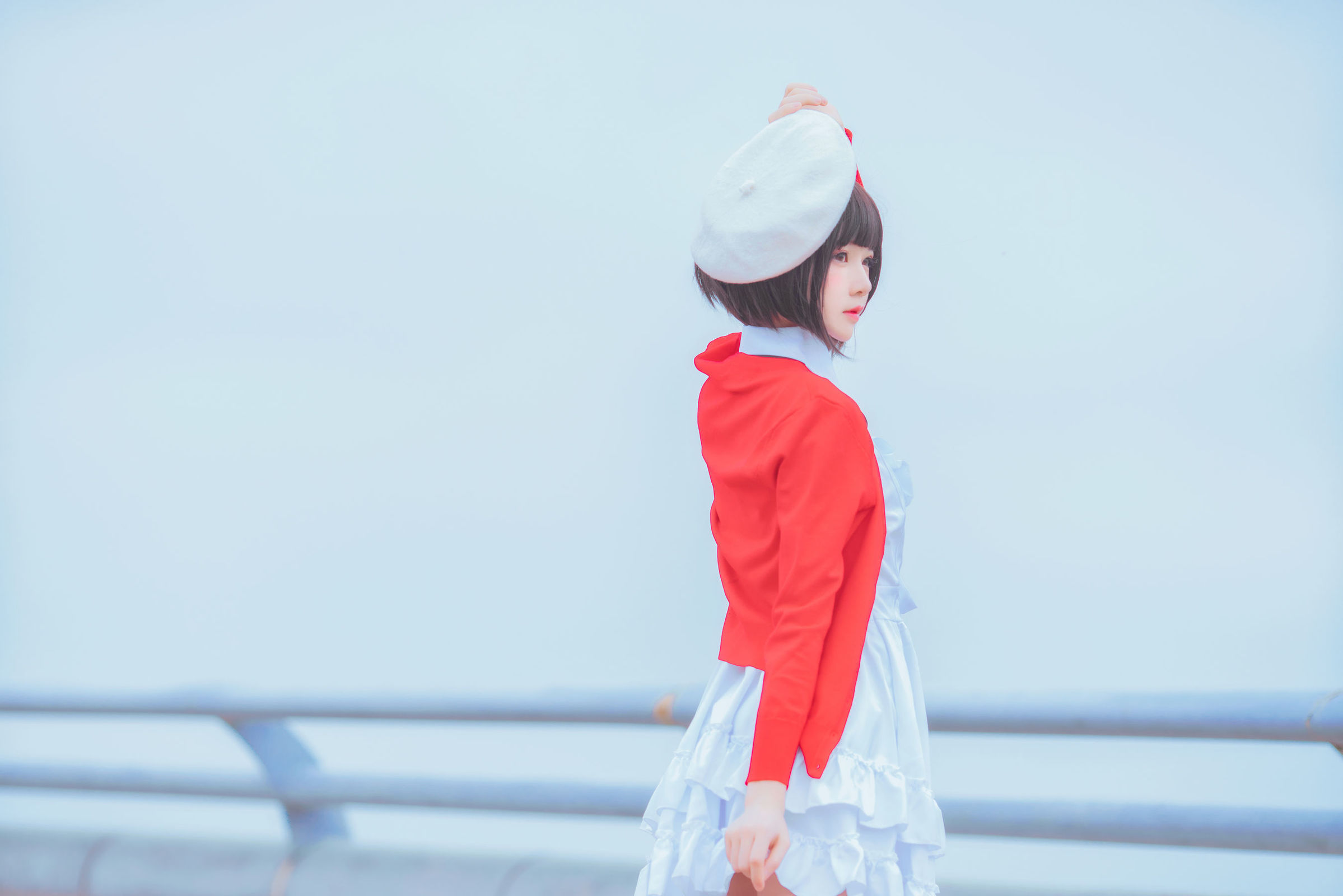 红衣白帽初印象 粉红睡衣白丝袜-桜桃喵《路人女主的养成方法》加藤惠COS  动漫漫画 第19张