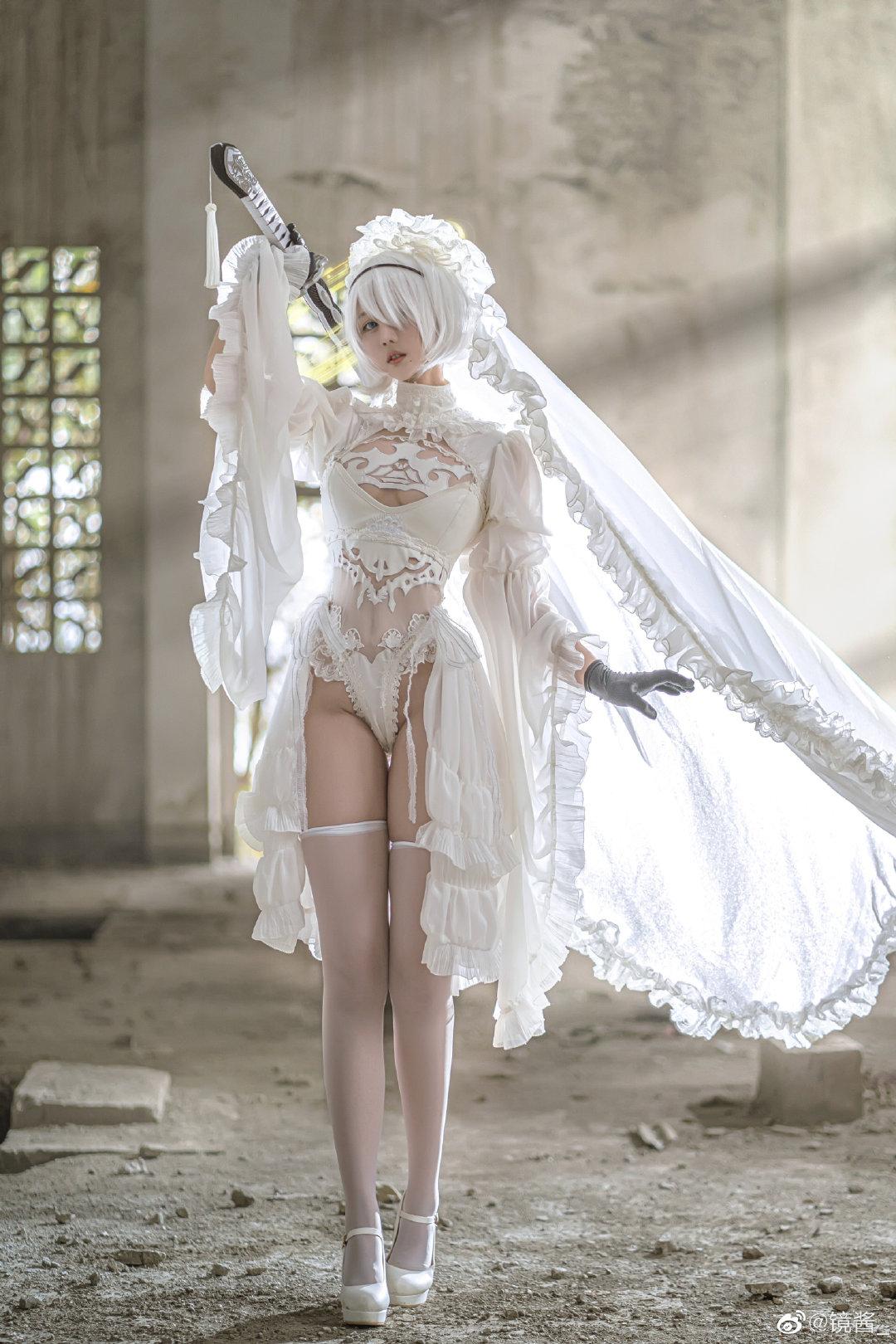 [COS]镜酱 #尼尔:机械纪元#2b白色婚纱 COSPLAY-第5张