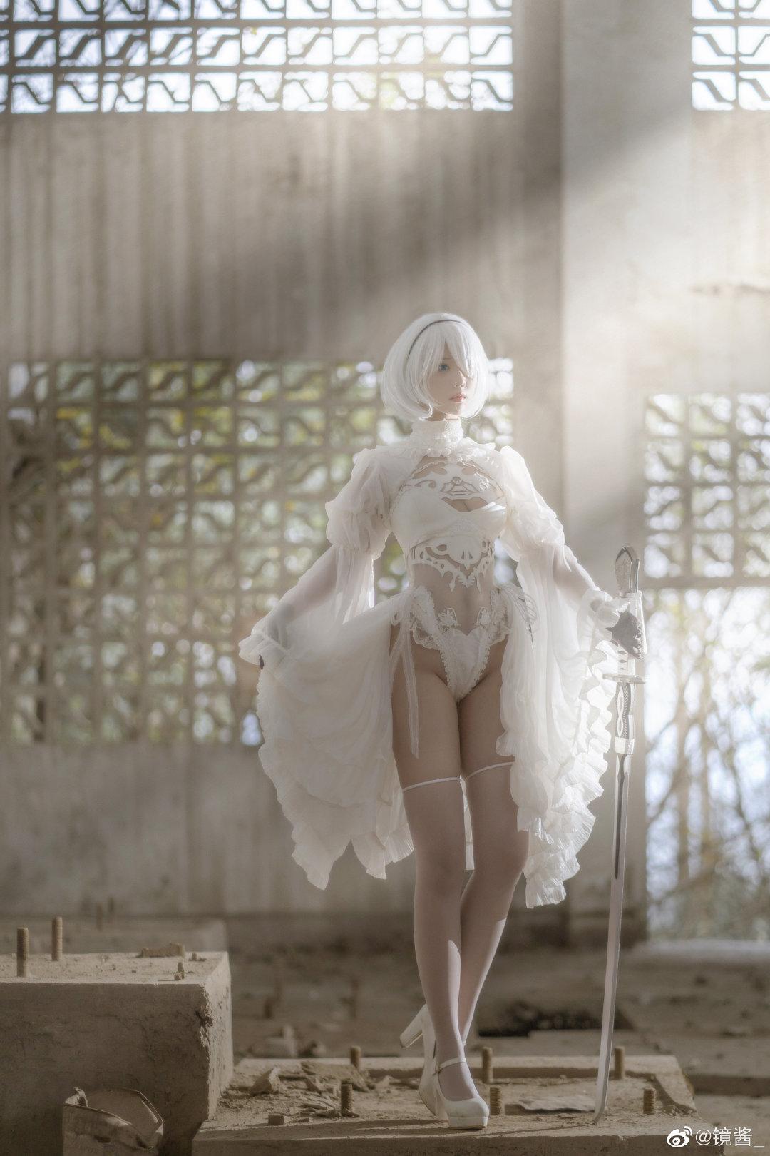 [COS]镜酱 #尼尔:机械纪元#2b白色婚纱 COSPLAY-第12张