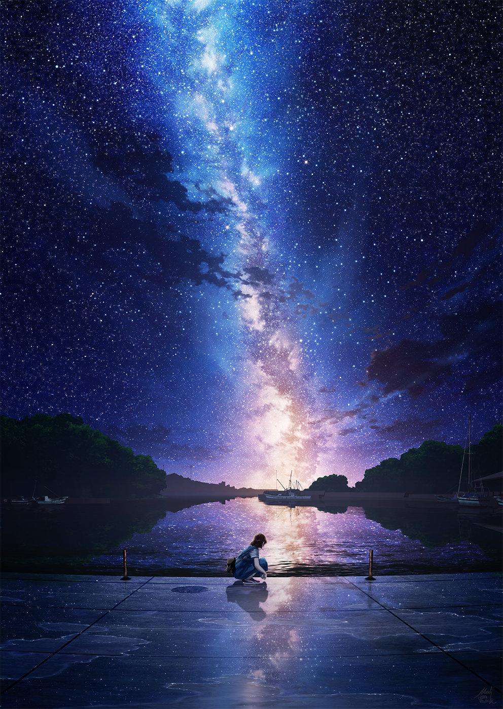 [美图推荐]夜空 星空 想念你的每个夜晚 电脑手机壁纸 手机壁纸-第5张