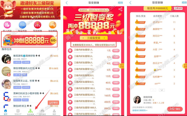 趣闲赚App新一期排行榜瓜分88888元,日赚800元的手赚平台 手机赚钱 第3张