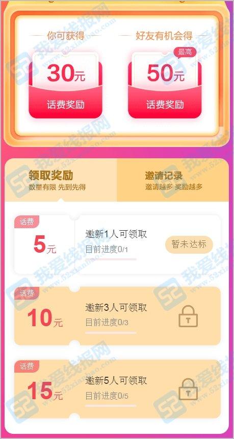中国民生银行,邀请好友纯注册撸最高30元话费
