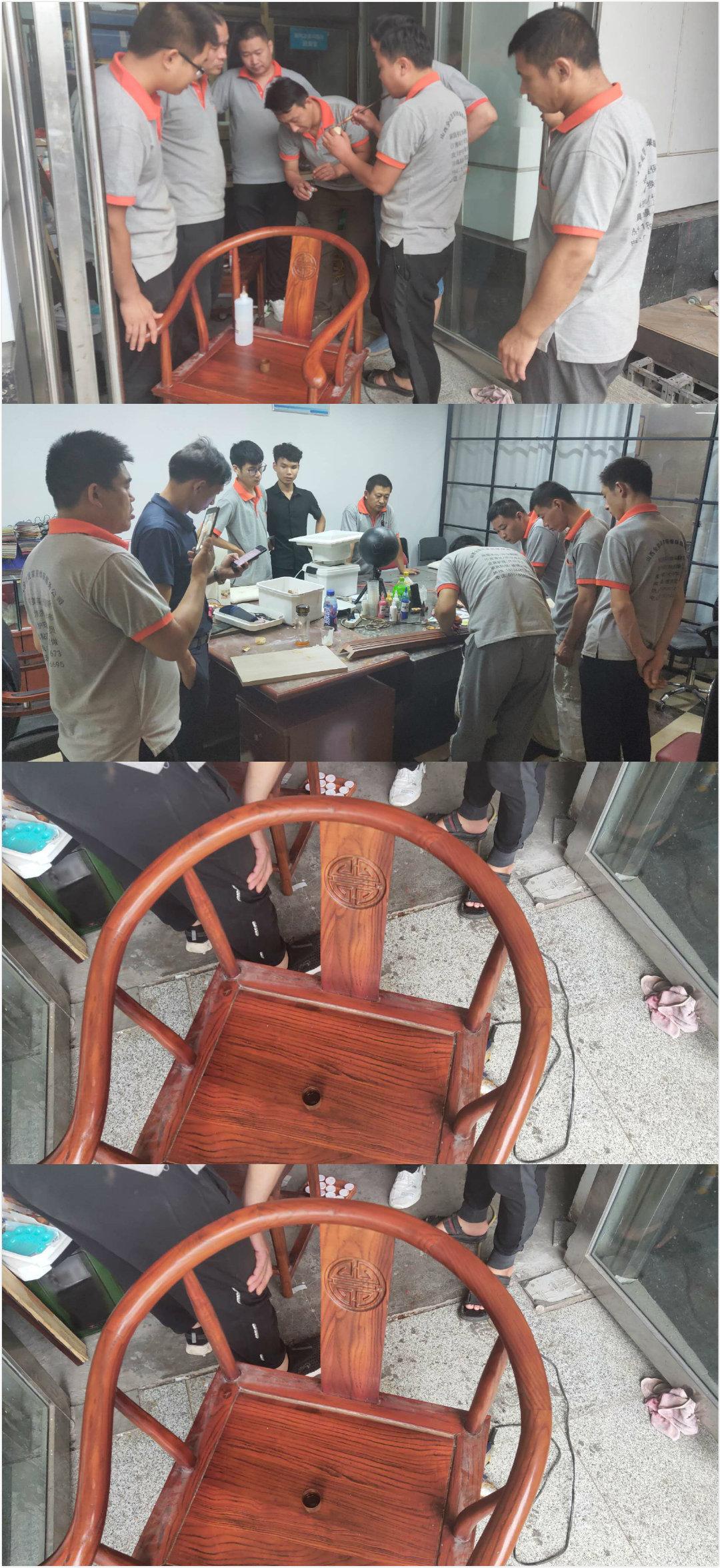 今天给大家分享我们家具维修师傅与学员的日常维修学习照片-家具美容网
