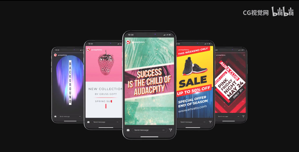 AE模板丨INS时尚微信类手机视频宣传包装ae动画模板