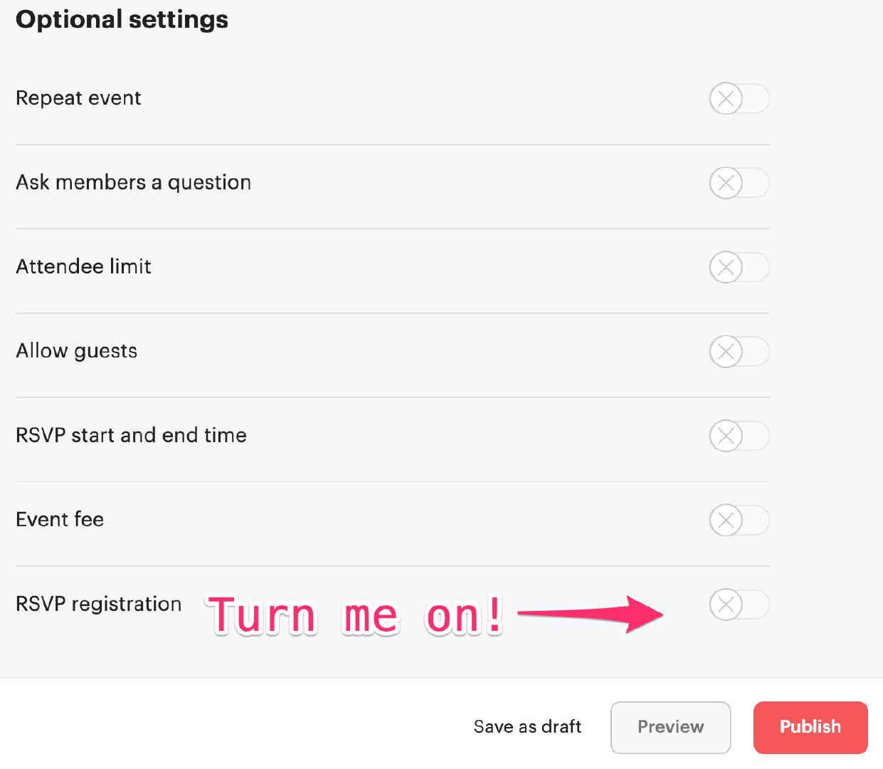 RSVP_registration settings