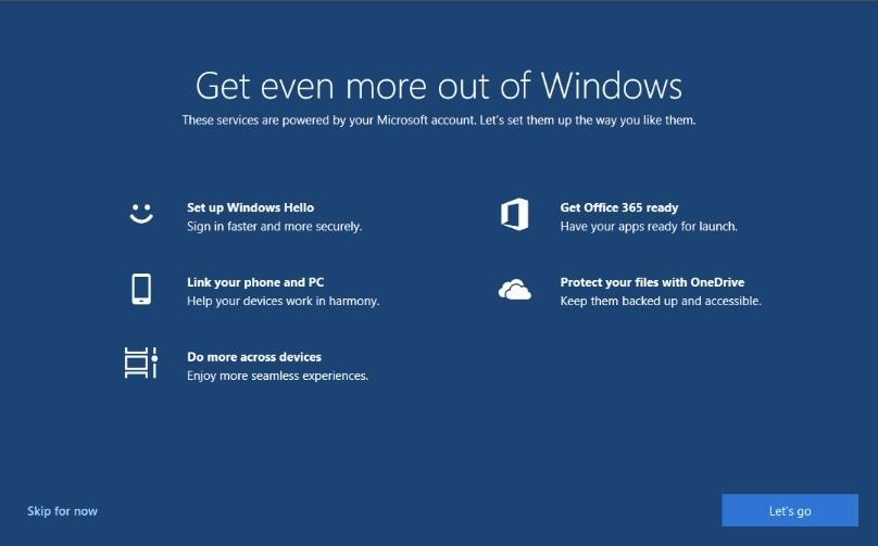 微软正尝试对非新安装系统的用户弹出Windows10全屏设置界面