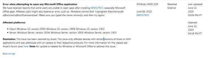 装有Avast产品的Windows10设备更新补丁后Office无法使用
