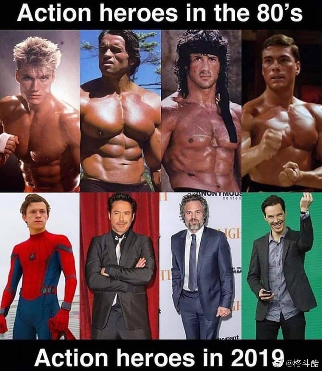 影视资讯1980年代的影视英雄与2019年的影视英雄对比...
