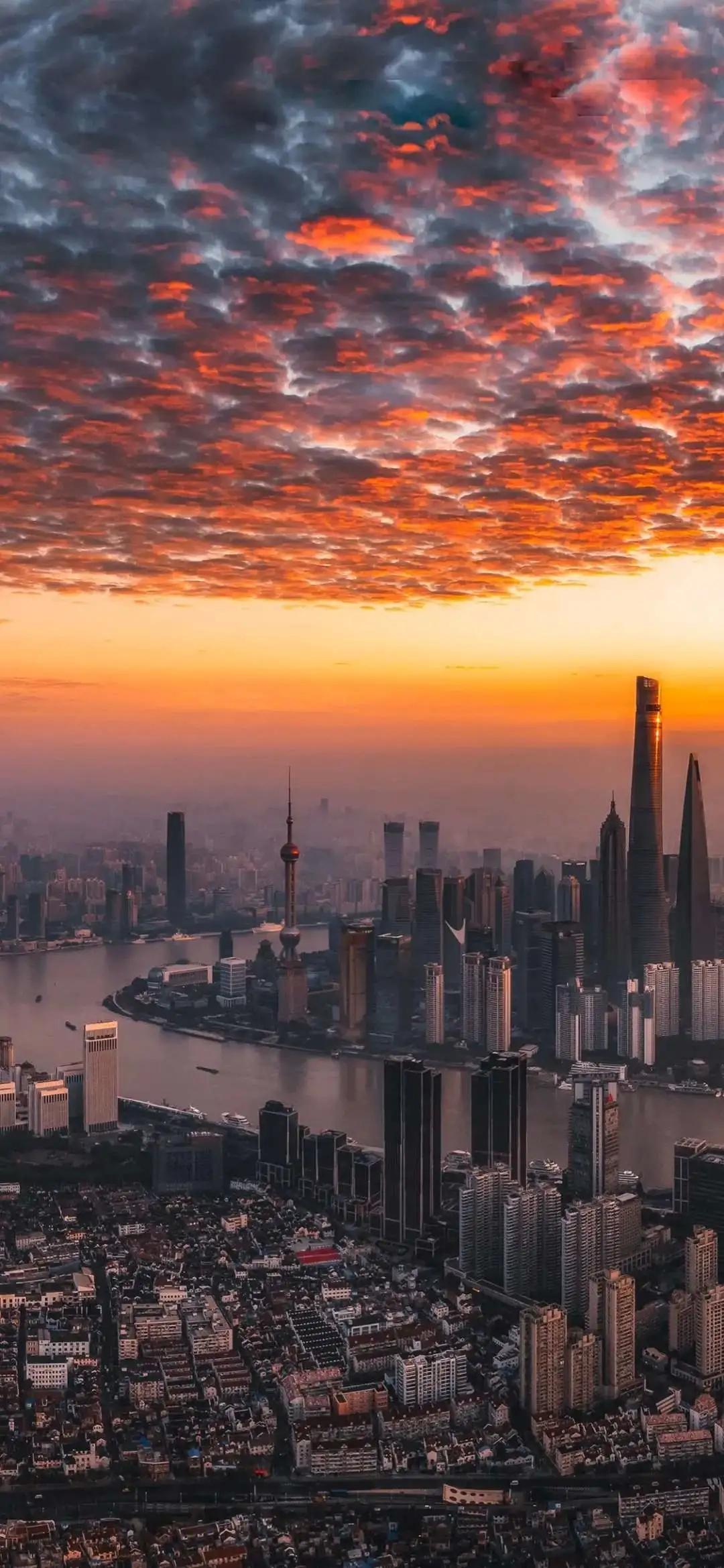 夕阳下的东方明珠城市风景手机壁纸