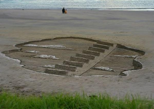 沙滩上的梯子
