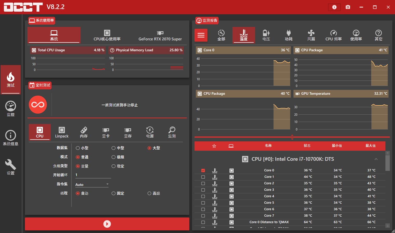 软件推荐[Windows]电源检测工具OCCT v9.0.0单文件版